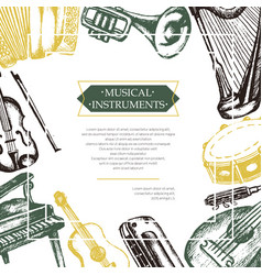 Musical instruments - color hand drawn postcard vector