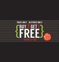 Buy 2 get 1 free 5000x1995 pixel banner vector