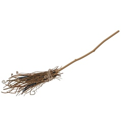 Old broom isolated vector