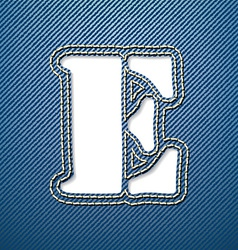 Denim jeans letter e vector