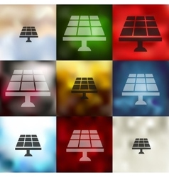 Solar battery icon on blurred background vector