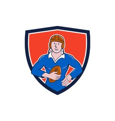 Vintage french rugby player holding ball crest vector