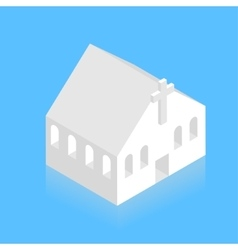 Modern white isometric church on blue vector