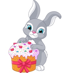 Easter rabbit and cake vector