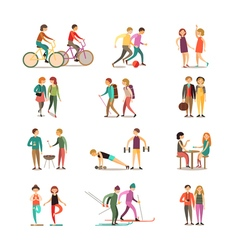 Friends And Hobbies Decorative Icons Set vector image