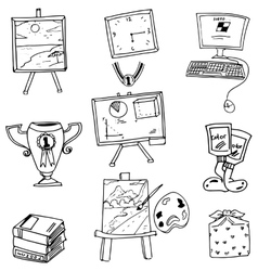 School object book computer doodles vector