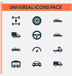 Automobile icons set collection of truck vector