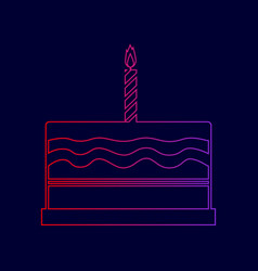 Birthday cake sign line icon with vector