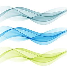 blue and green transparent waves set vector image