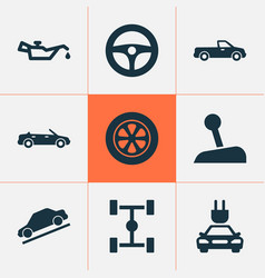 Car icons set includes icons such as wheel vector
