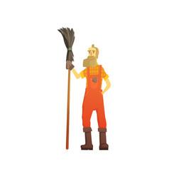 Cartoon hipster street sweeper in orange uniform vector