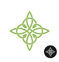 Celtic knots elegant weave cross logo Mono line vector image