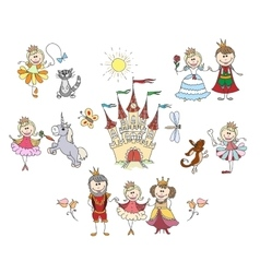 Children drawings for little girl vector