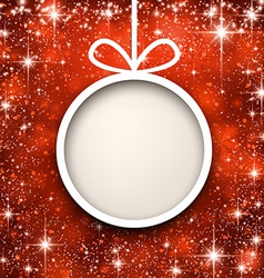 Christmas paper ball on red background vector image
