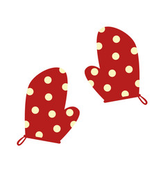 Colorful silhouette dotted kitchen gloves vector