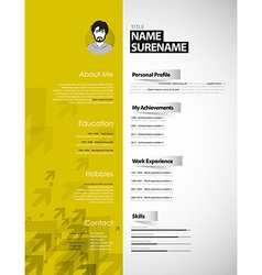 Creative curriculum vitae template with yellow vector