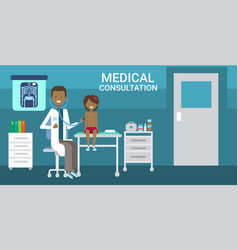 doctor examining patient medical consultation vector image vector image