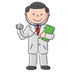 Doctor holding blank sign and stethoscope vector