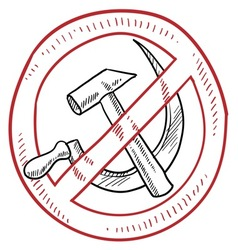 doodle hammer sickle communism no warning vector image