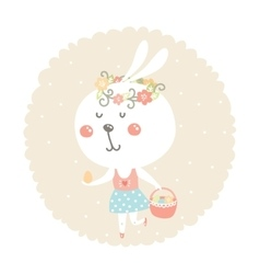 Easter bunny with egg and basket vector
