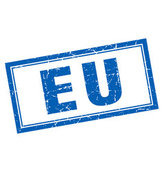 Eu blue square grunge stamp on white vector