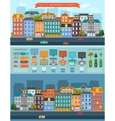Flat City Elements Infographics vector image