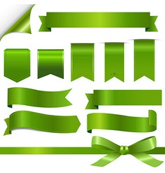 Green Ribbons Set vector image vector image