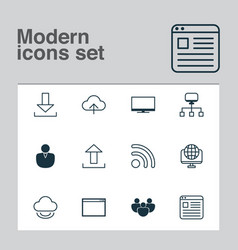 Internet icons set collection of storage vector