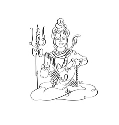 Lord shiva black and white calligraphic drawing to vector