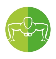 Man silhouette exercising push ups front vector