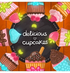 Muffin set Cupcake frame vector image vector image