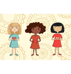 multicultural girls with hearts vector image vector image
