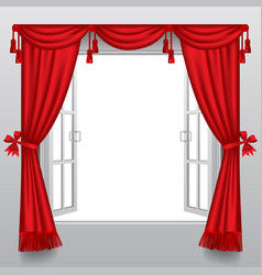 Open white double window with classic red blinds vector