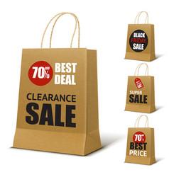 Paper shopping bag mockup vector