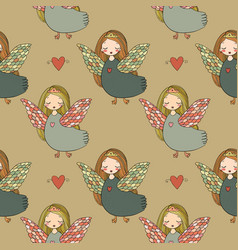 pattern with girl sirin vector image