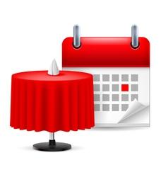 Restaurant table and calendar vector