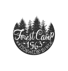 Round forest camp vintage emblem vector
