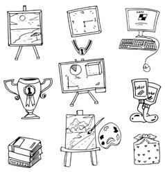 School object book computer doodles vector