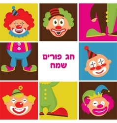 Set of colorful clown heads vector