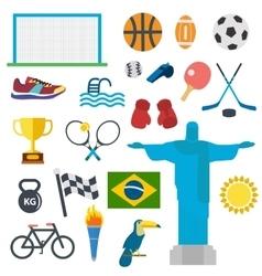 Sport icons set Rio Brasil games vector image vector image