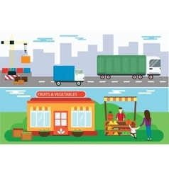 Street seller with stall fruits and truck cargo vector