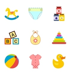 Things for baby icons set flat style vector
