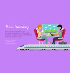 Train travelling conceptual web banner railway vector