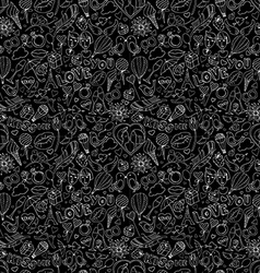 Valentines Day pattern Sketch style Black and vector image vector image