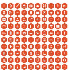 100 medical treatmet icons hexagon orange vector