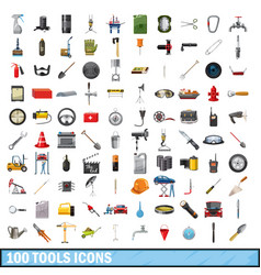 100 tools business icons set cartoon style vector