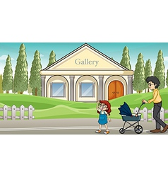 A mother with her child strolling vector image