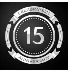 Fifteen years anniversary celebration with silver vector