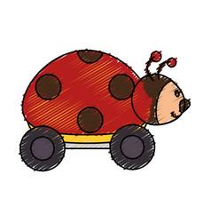Ladybug with wheels toy vector