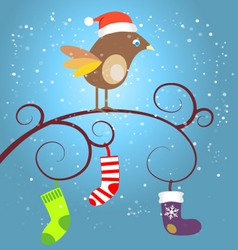Birdie at christmas vector